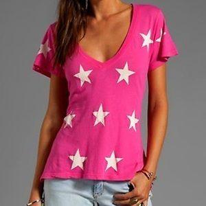 WILDFOX Hot Pink Starred Short Sleeve Tee, L